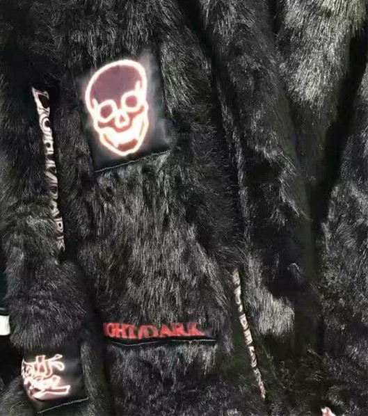BigBang G Dragon Skull Black Fur Jacket