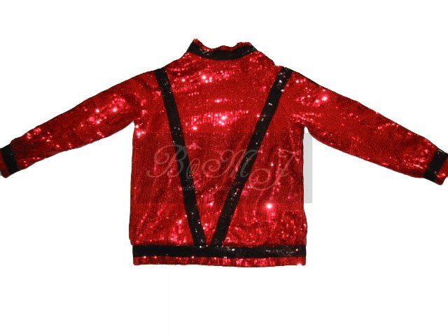 Michael Jackson Thriller Jacket in Red with Black Sequin
